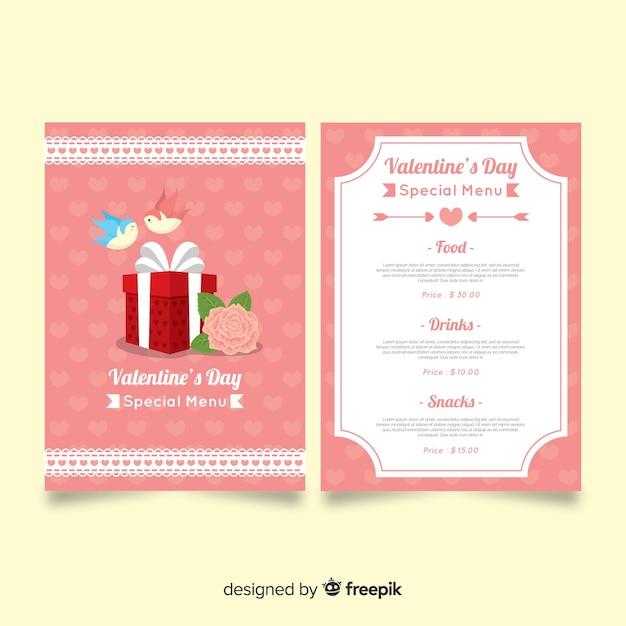 Modèle de menu de la saint-valentin Vecteur gratuit