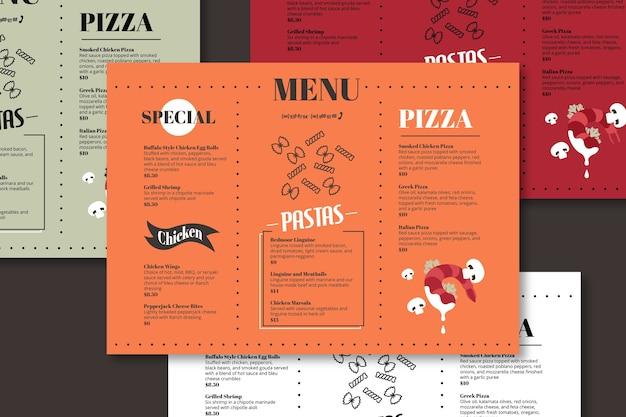 Modèle de menu spécial pizza et pâtes Vecteur gratuit