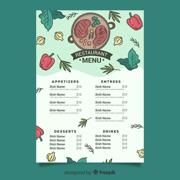 Modèle de menu de steak et légumes Vecteur gratuit