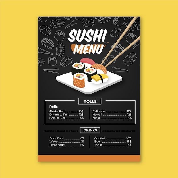 Modèle De Menu Sushi Avec Des Baguettes Vecteur gratuit