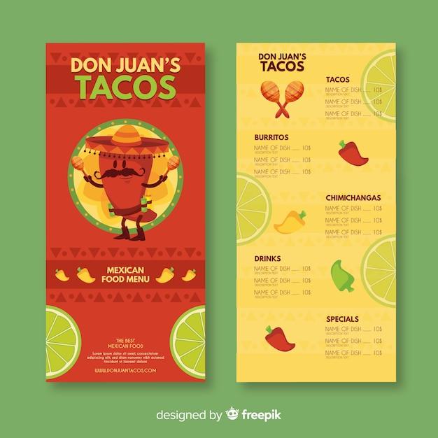 Modèle de menu de taco don juan Vecteur gratuit