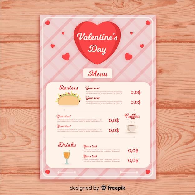 Modèle de menu taco saint valentin Vecteur gratuit