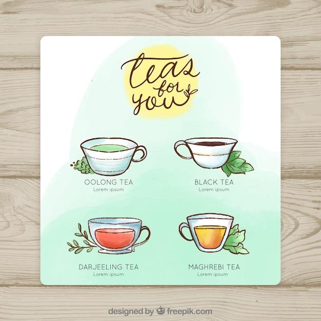 Modèle de menu de thé aquarelle Vecteur gratuit