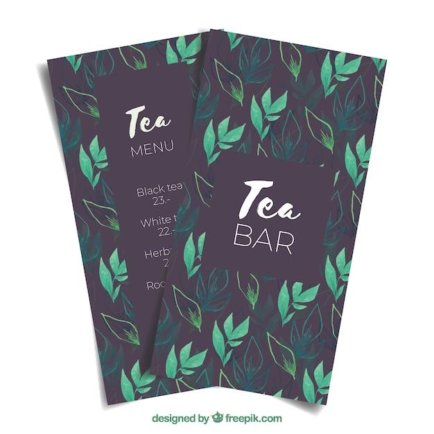 Modèle de menu de thé au salon de thé Vecteur gratuit