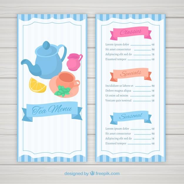 Modèle de menu de thé avec un design plat Vecteur gratuit