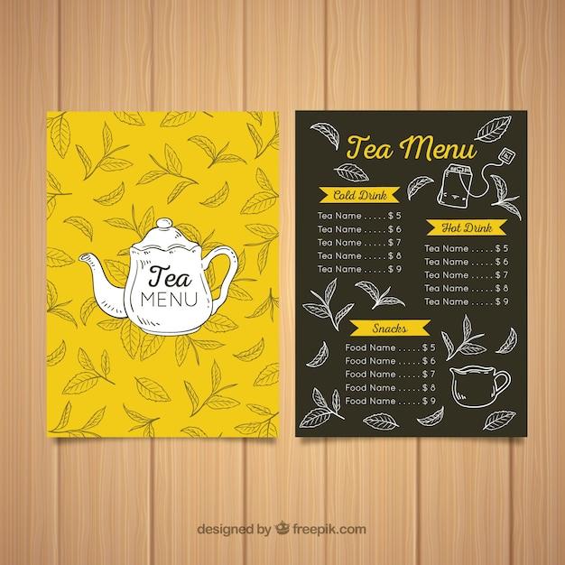 Modèle de menu de thé dessiné à la main Vecteur gratuit