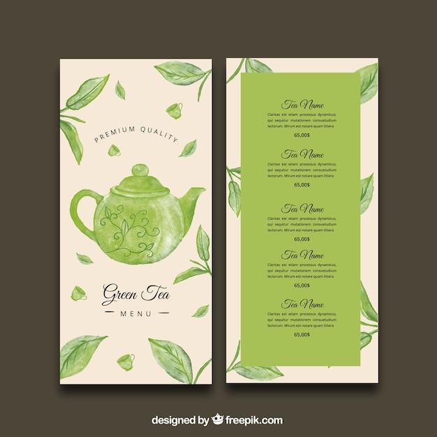 Modèle de menu de thé avec différentes boissons Vecteur gratuit