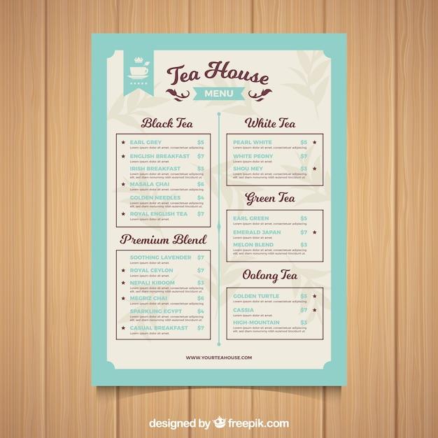 Modèle de menu de thé avec différents types de boisson Vecteur gratuit