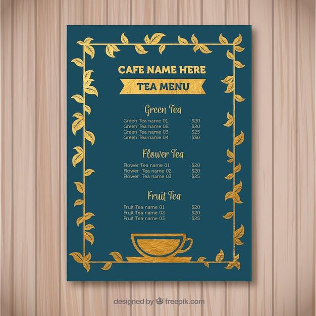 Modèle de menu de thé élégant avec un design plat Vecteur gratuit