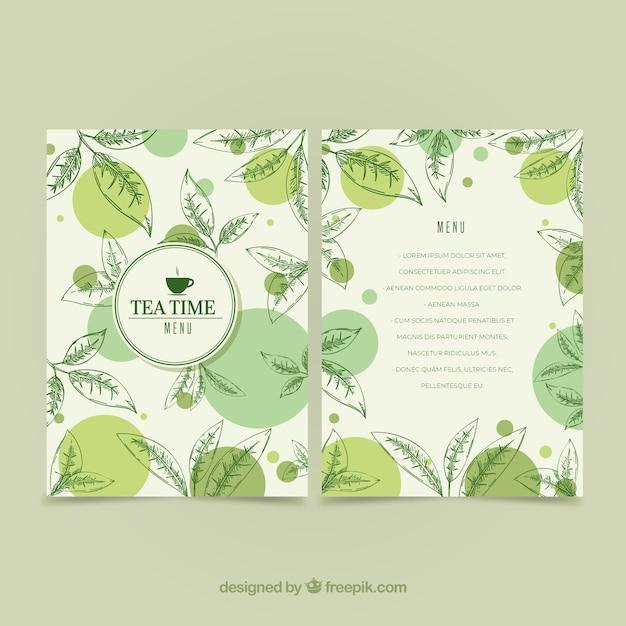 Modèle de menu de thé avec des feuilles Vecteur gratuit