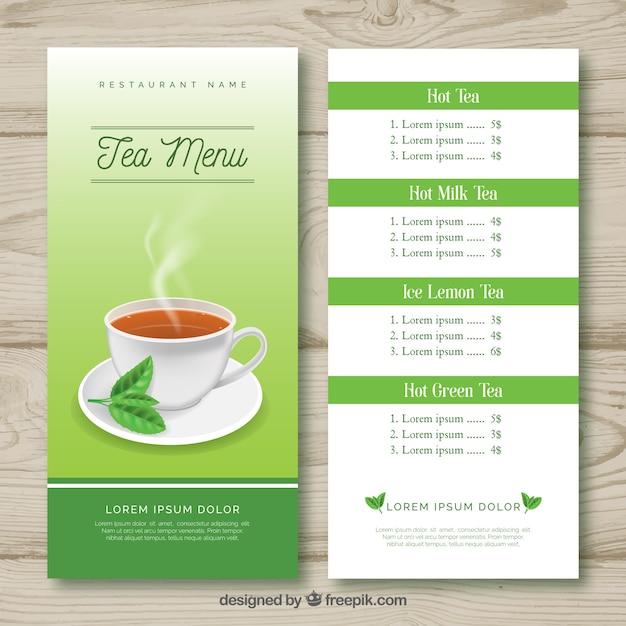 Modèle de menu de thé avec liste de boissons Vecteur gratuit
