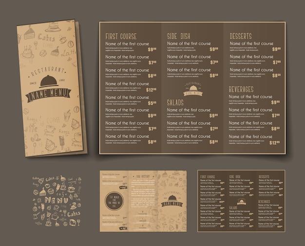 Modèle De Menu Triple Pliant Pour Cafés Et Restaurants Vecteur Premium