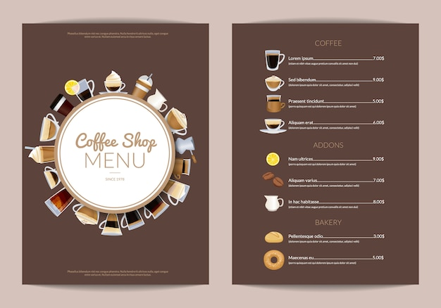 Modèle de menu vertical de café. menu de café avec tasse de café espresso et cappuccino Vecteur Premium