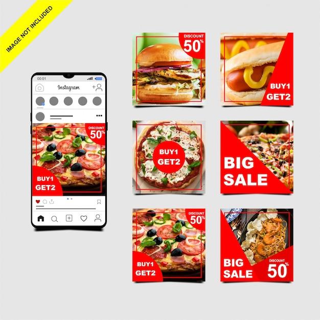 Modèle de message alimentaire instagram Vecteur Premium