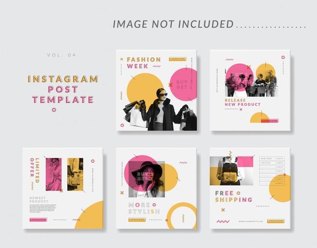 Modèle de message instagram minimal sur les médias sociaux pour la mode féminine Vecteur Premium