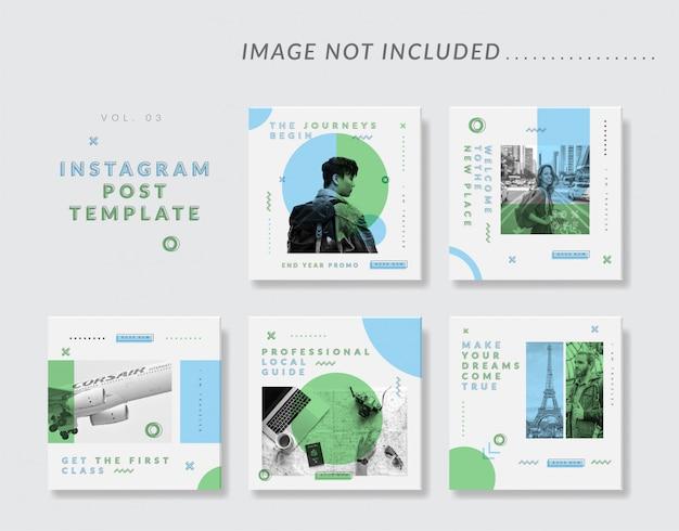 Modèle de message instagram minimal pour les médias sociaux pour les voyages Vecteur Premium
