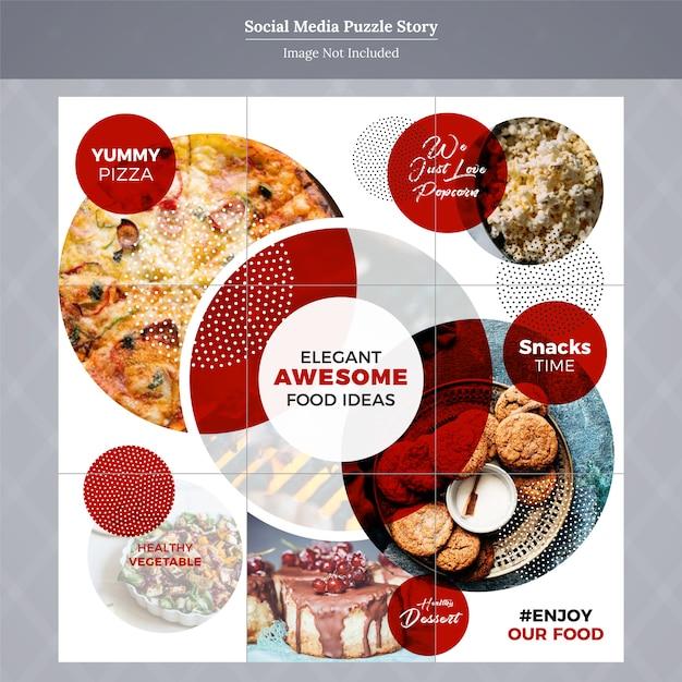 Modèle de message de médias sociaux sur le puzzle de la nourriture Vecteur Premium
