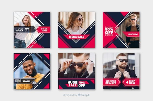 Modèle de messages instagram géométrique avec photos Vecteur gratuit