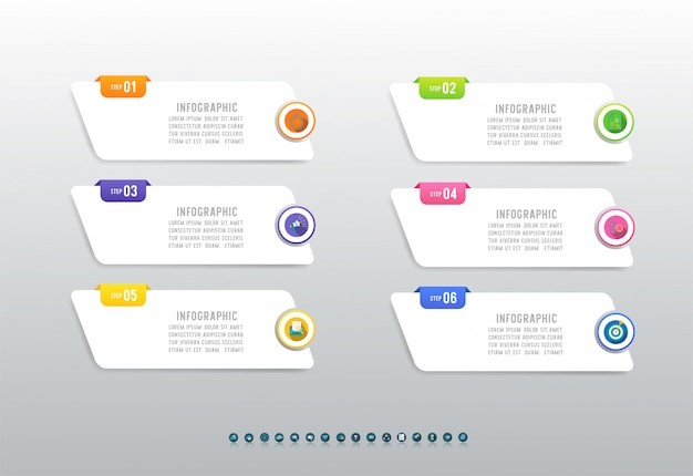 Modèle De Métier élément Graphique Infographique En Six étapes. Vecteur Premium