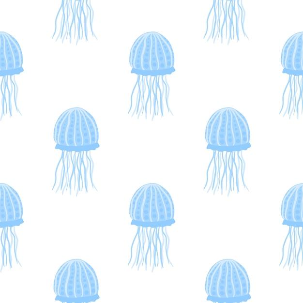 Modèle Minimaliste Sans Soudure Isolé Avec Des Silhouettes Simples De Méduses. Poisson Sous-marin De Couleur Bleue Vecteur Premium