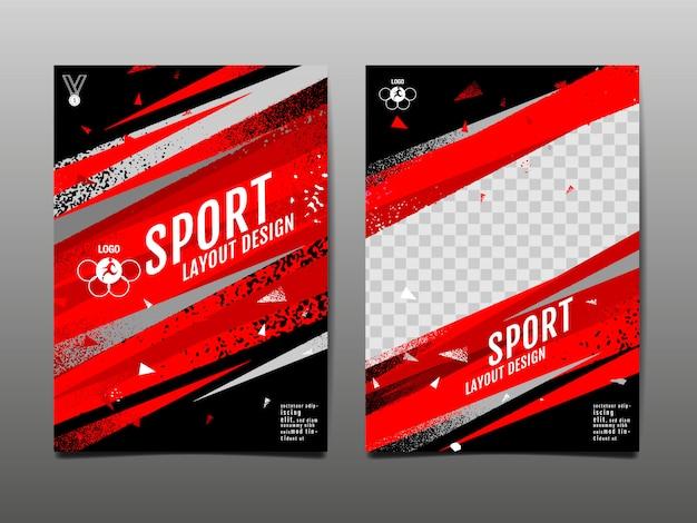 Modèle De Mise En Page Sport Fond Abstrait Grunge Vecteur Premium