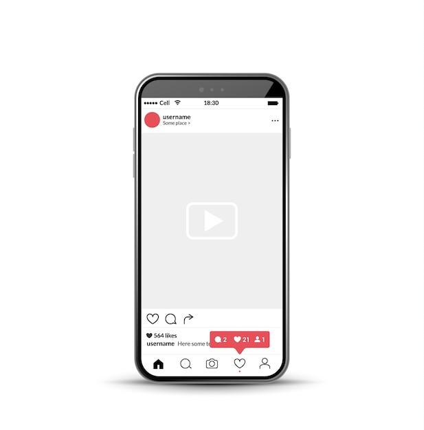 Modèle mobile de cadre photo de réseau social Vecteur Premium