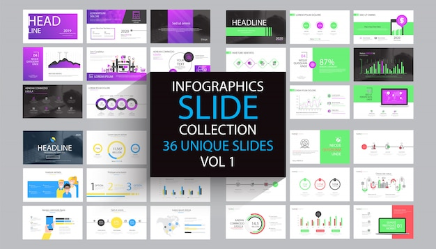 Modèle de modèle de diapositive infographie Vecteur Premium