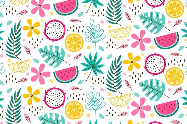 Modèle De Modèle D'été Avec Des Feuilles Et Des Fruits Vecteur gratuit