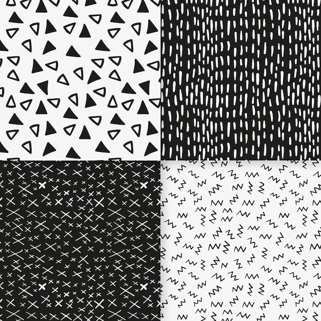 Modèle De Modèle Sans Couture De Minuscules Formes Noir Et Blanc Vecteur Premium