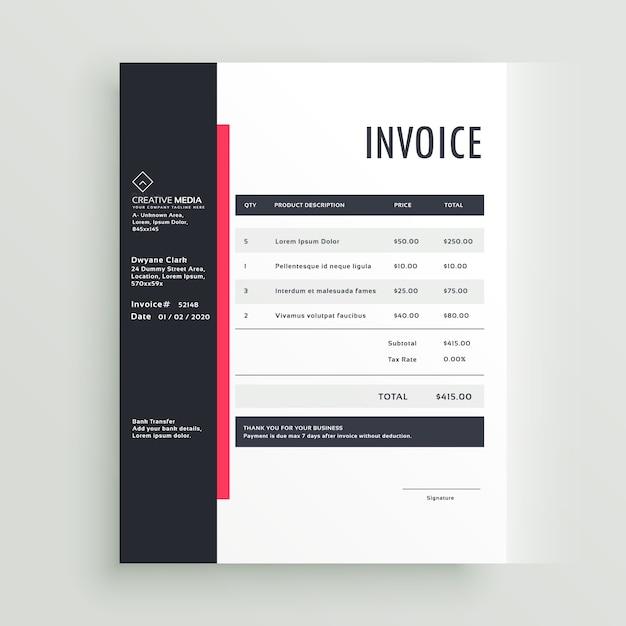 Modèle de modèle de vecteur de facture commerciale Vecteur Premium