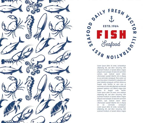 Modèle De Monde Sous-marin. Gravure Silhouette De Texture De Fruits De Mer Avec Modèle De Logo. Vecteur Premium