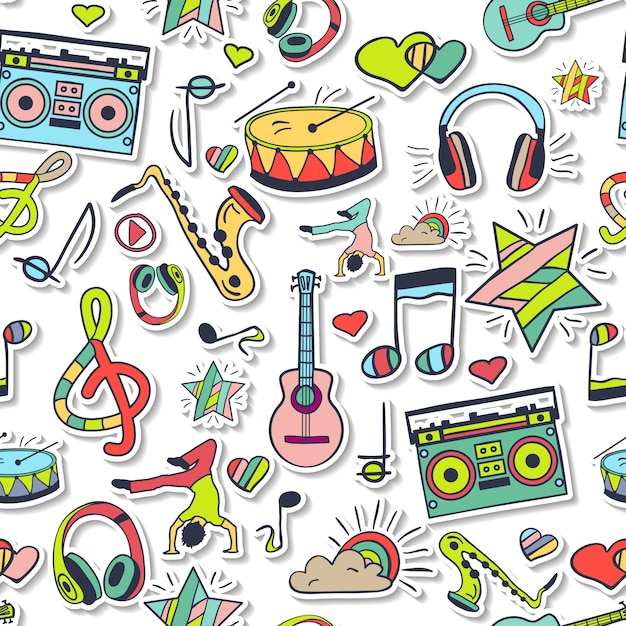 Modèle de musique et de danse sans soudure de vecteur. Vecteur Premium
