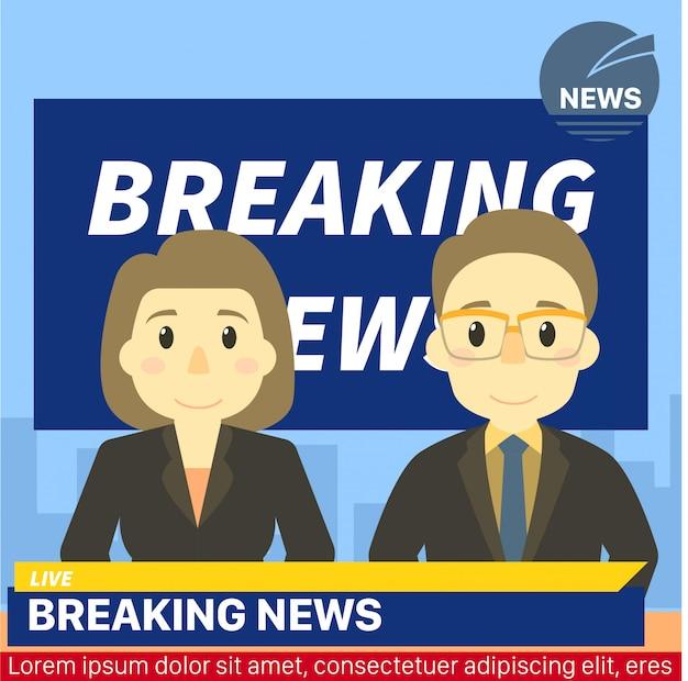 Modèle De News De Rupture De Titre D'ancre De Nouvelles Vecteur Premium