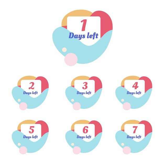 Modèle de nombre de jours restants Vecteur Premium