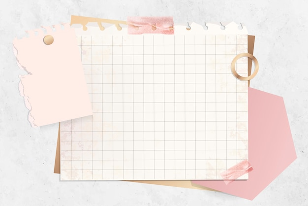 Modèle De Note En Papier Quadrillé Vecteur gratuit