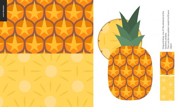 Modèle De Nourriture, Fruit, Ananas Vecteur Premium