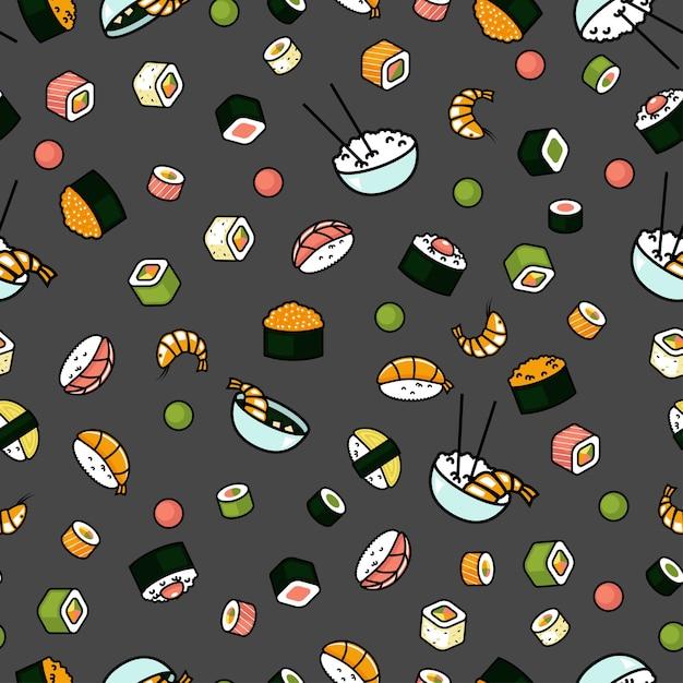 Modèle De Nourriture Japonaise Sans Soudure, Sushi Et Rouleaux, Fond Gris Vecteur Premium