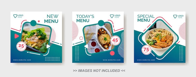 Modèle De Nourriture De Médias Sociaux, Modèle De Publication De Médias Sociaux De Restaurant Vecteur Premium