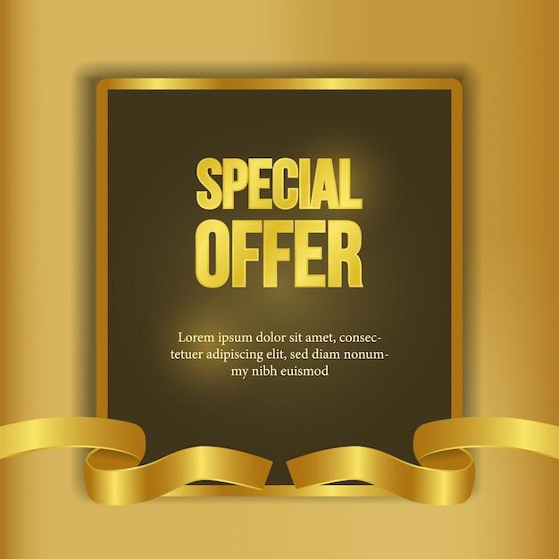 Modèle d'offre spéciale avec bannière de ruban d'or Vecteur Premium