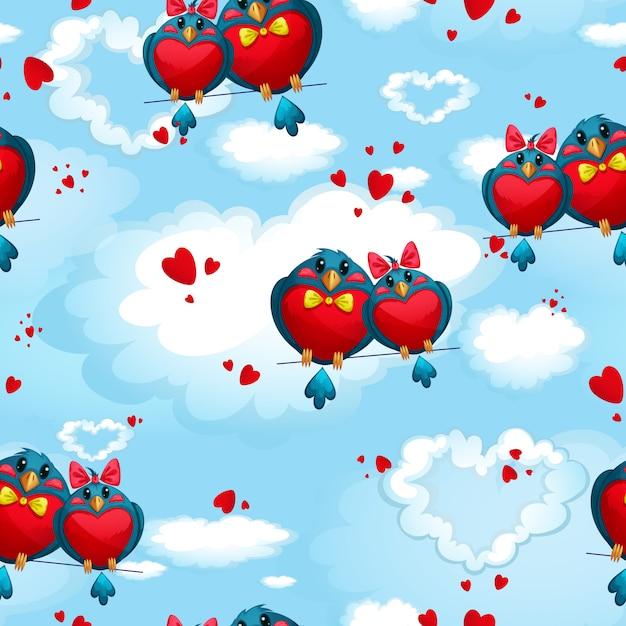 Modèle avec des oiseaux en forme de coeurs contre le ciel et les nuages. la saint valentin. Vecteur Premium