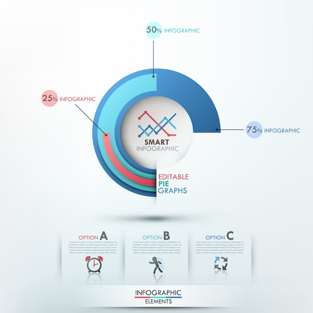 Modèle d'options d'infographie moderne avec 3 camemberts Vecteur Premium