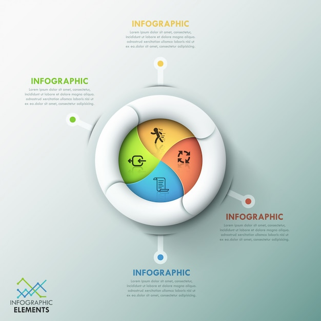 Modèle d'options d'infographie moderne en spirale Vecteur Premium