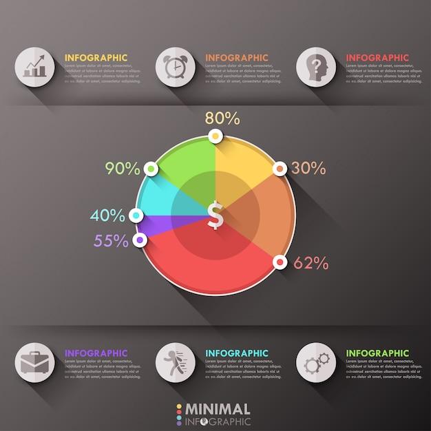 Modèle d'options infographiques minimes avec camembert Vecteur Premium