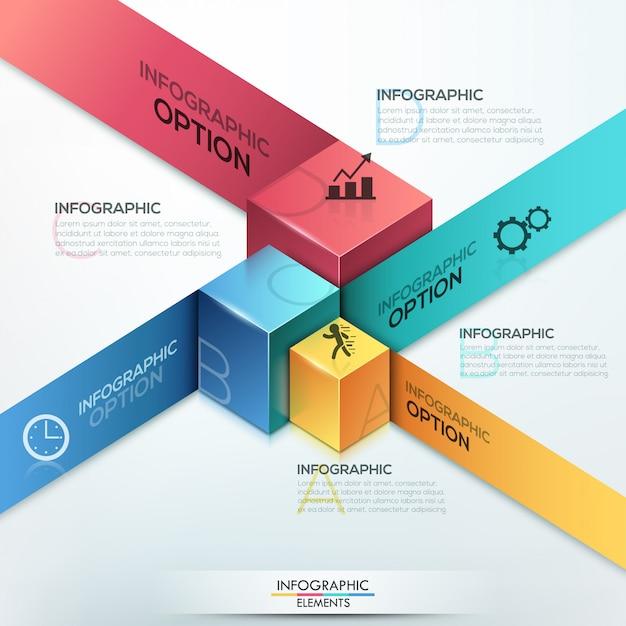 Modèle d'options isométriques d'infographie moderne Vecteur Premium