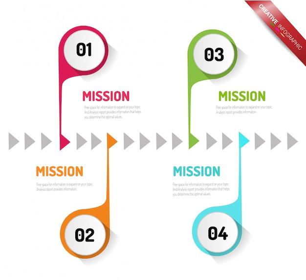 Modèle d'options de nombre infographie abstraite avec étapes Vecteur Premium