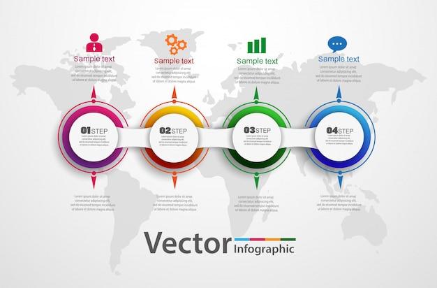 Modèle D'options De Numéro Infographie Abstraite En Quatre étapes Vecteur Premium