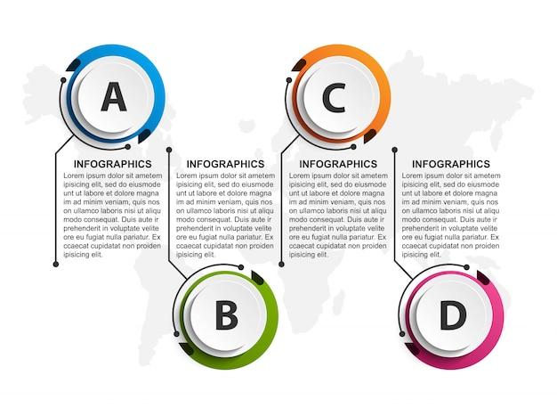 Modèle d'organigramme de conception infographique. Vecteur Premium