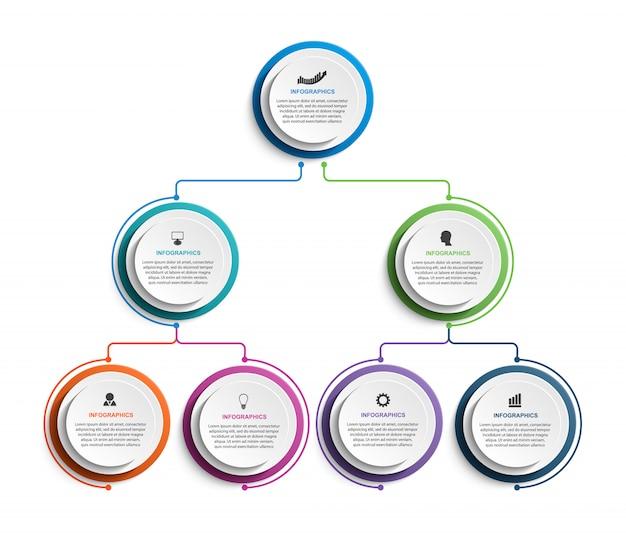 Modèle d'organigramme infographique. Vecteur Premium