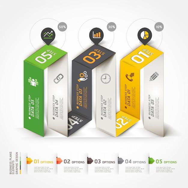 Modèle d'origami d'infographie entreprise d'escalier. Vecteur Premium