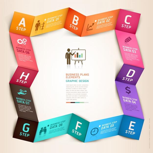 Modèle d'origami infographie entreprise moderne. Vecteur Premium